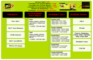 Centrafrique: Moov Nolimit! pour connaitre votre solde de crédit tapez *140#. Pour le solde de votre volume internet 3G++, tapez *130*0*0#